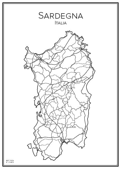 Stadskarta över Sardinien