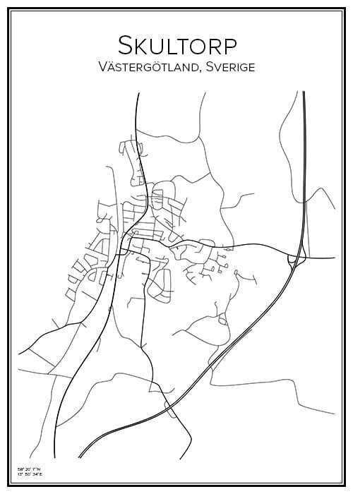Stadskarta över Skultorp
