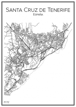 Stadskarta over Santa Cruz de Tenerife