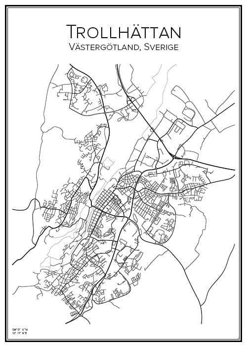 Stadskarta över Trollhättan