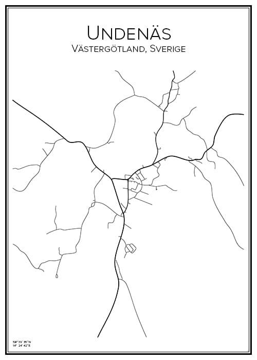 Stadskarta över Undenäs