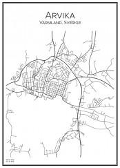 Stadskarta över Arvika
