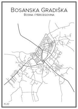 Stadskarta över Bosanska Gradiška