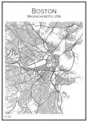 Stadskarta över Boston