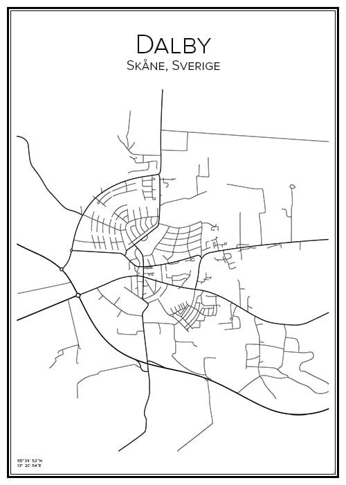 Stadskarta över Dalby