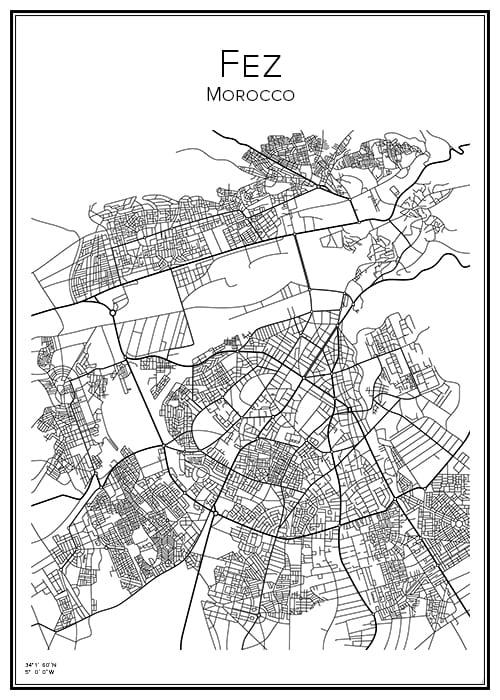 Stadskarta över Fez