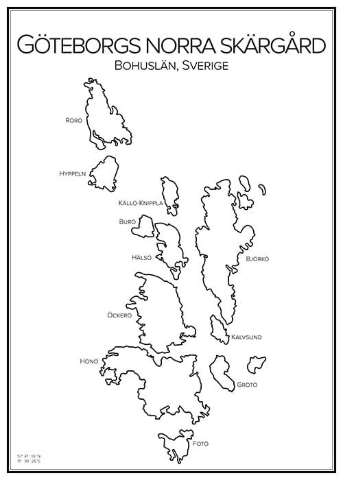 norra skärgården göteborg karta Stadskarta över Göteborgs norra skärgård | Handritade stadskartor  norra skärgården göteborg karta