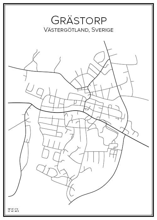 Stadskarta över Grästorp