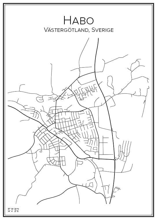 Stadskarta över Habo