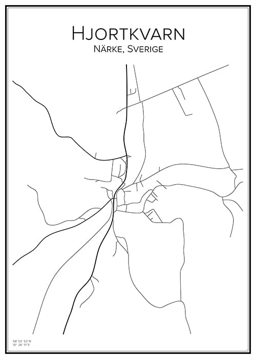 Stadskarta över Hjortkvarn