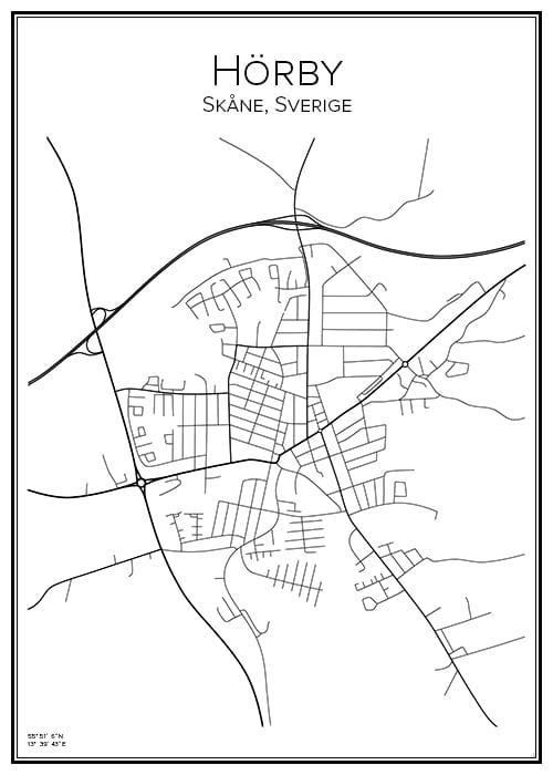 Stadskarta över Hörby