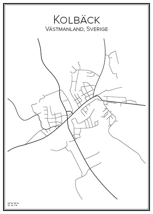 Stadskarta över Kolbäck