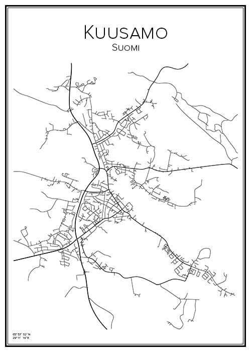 Stadskarta över Kuusamo