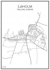 Stadskarta över Laholm