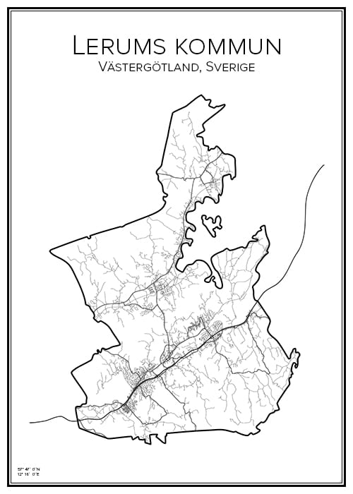 Stadskarta över Lerums kommun