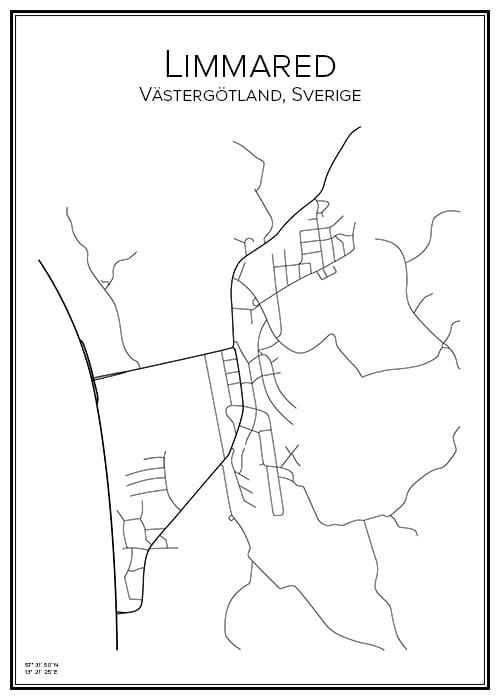 Stadskarta över Limmared