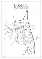 Stadskarta över Lindsdal