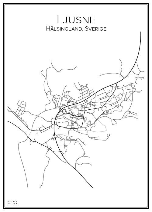 Stadskarta över Ljusne
