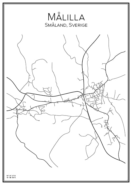 Stadskarta över Målilla