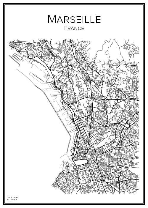 Stadskarta över Marseille
