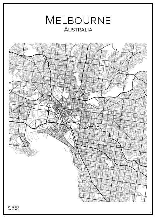 Stadskarta över Melbourne
