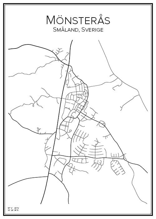 Stadskarta över Mönsterås