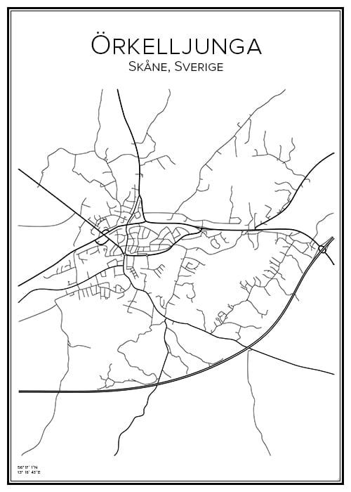 Stadskarta över Örkelljunga