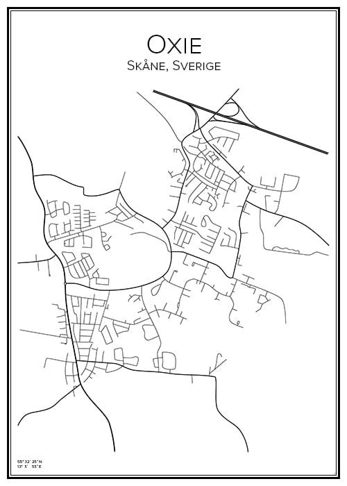 Stadskarta över Oxie
