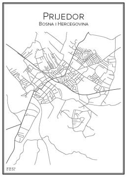 Stadskarta över Prijedor