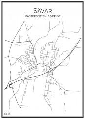 Stadskarta över Sävar