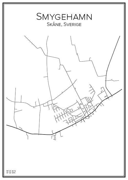 Stadskarta över Smygehamn
