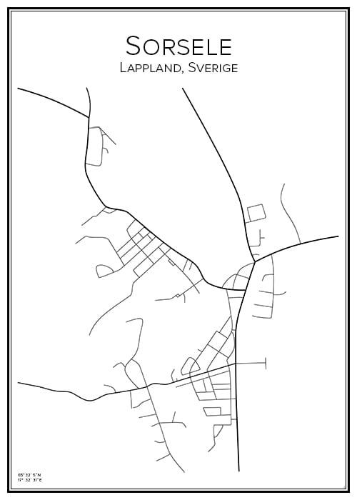 Stadskarta över Sorsele
