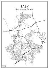 Stadskarta över Täby