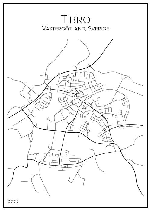 Stadskarta över Tibro
