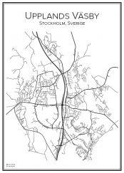 Stadskarta över Upplands Väsby