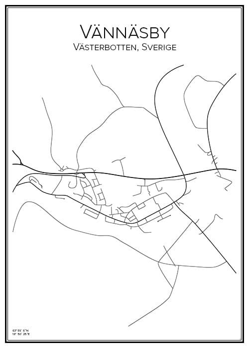 Stadskarta över Vännäsby