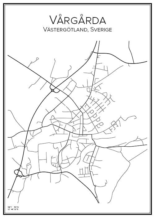 Stadskarta över Vårgårda