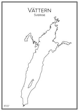 Stadskarta över Vättern