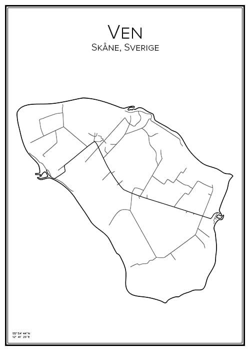 Stadskarta över Ven