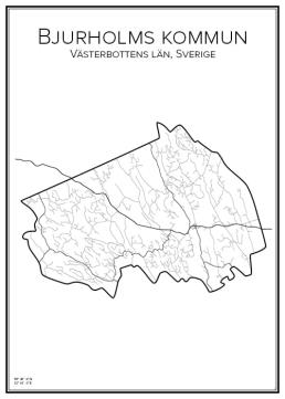 Stadskarta över Bjurholms kommun