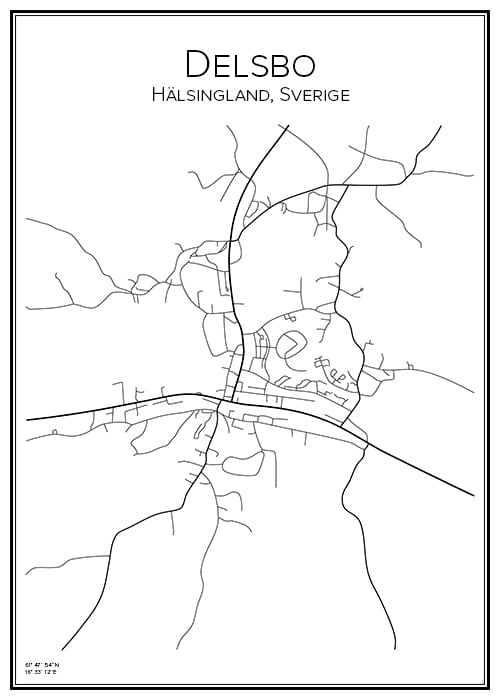 Stadskarta över Delsbo