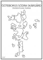 Stadskarta över Göteborgs södra skärgård