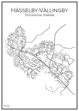 Stadskarta över Hässelby-Vällingby