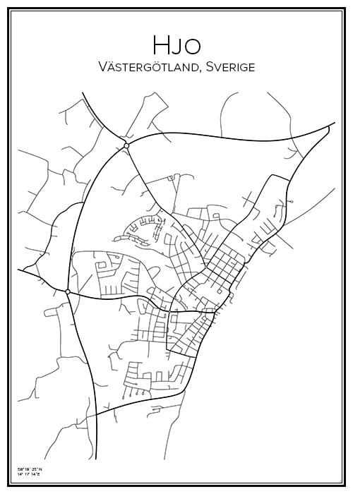 Stadskarta över Hjo