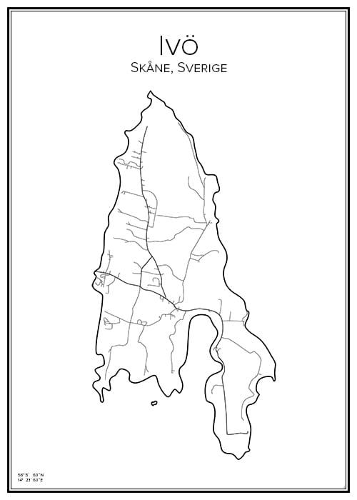 Stadskarta över Ivö