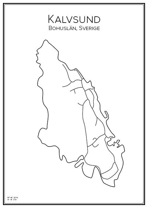 Stadskarta över Kalvsund