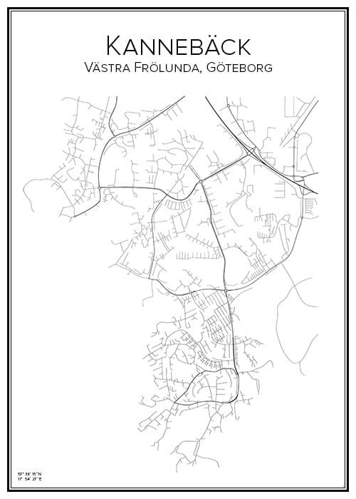 Stadskarta över Kannebäck