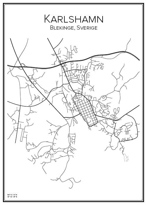 Stadskarta över Karlshamn