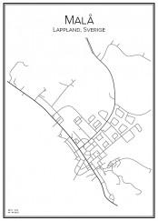 Stadskarta över Malå