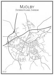 Stadskarta över Mjölby